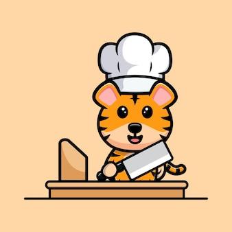 Chef tigre mignon avec mascotte de dessin animé de couteau