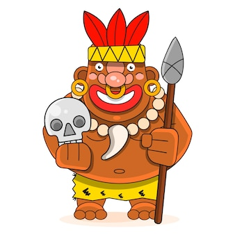 Chef d'une tribu indienne isolé adapté pour l'impression de cartes de voeux, d'affiches ou de t-shirts.