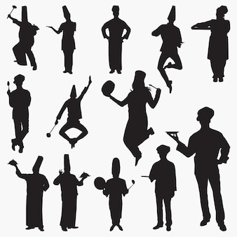 Chef vector silhouettes