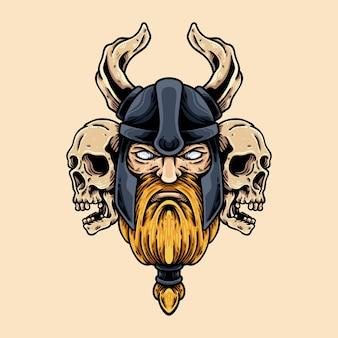 Chef viking et crânes