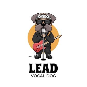 Chef vocal chien musique personnage dessin animé illustration logo créatif