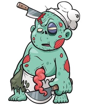 Chef de zombie de dessin animé