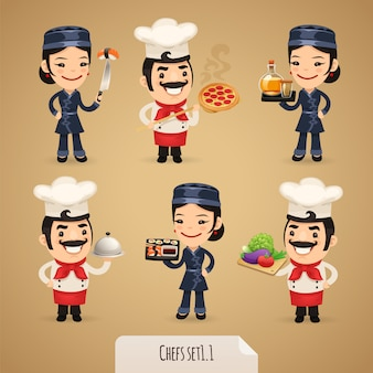 Chefs cartoon characters set