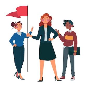 Chefs d'équipe féminins dessinés à la main
