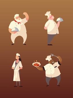 Chefs femme et hommes avec illustration de personnages de nourriture et de fourchette