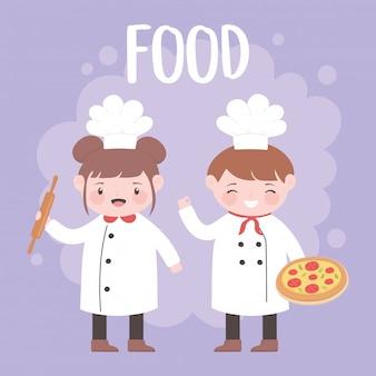 Chefs garçon et fille avec personnage de dessin animé de pizza et rouleau à pâtisserie