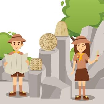 Des chefs scouts présentent des artefacts historiques de la civilisation ancienne