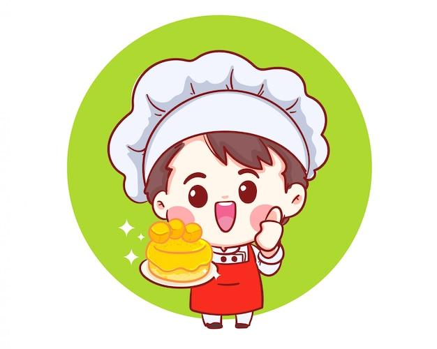Chefs souriants cuisinant, tenant le gâteau, boulangerie dessin animé art illustration logo.