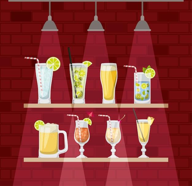 Chelf bar avec des tasses à cocktails