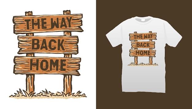 Le chemin du retour à la maison illustration de panneau de bois
