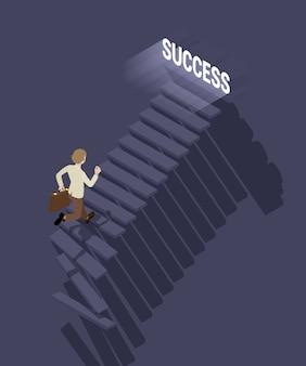 Chemin du succès en affaires. homme d'affaires avec la mallette à monter les escaliers vers le succès