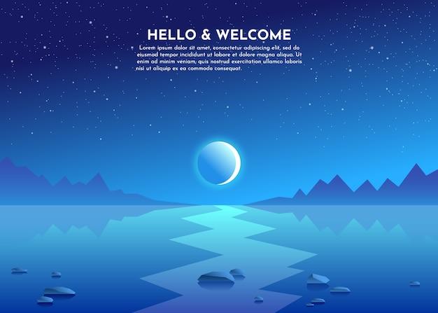 Chemin lunaire. lune au-dessus des montagnes. nuit sur le lac, marais, mer, océan. des pierres se trouvent dans l'eau.