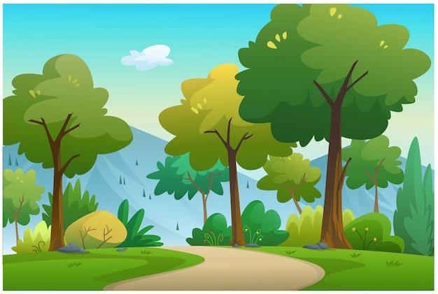 Sur le chemin naturel, il y a des arbres et des montagnes.