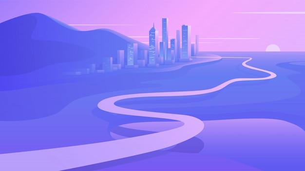 Chemin vers le centre-ville au coucher du soleil. paysage futuriste contemporain. road trip & journey route