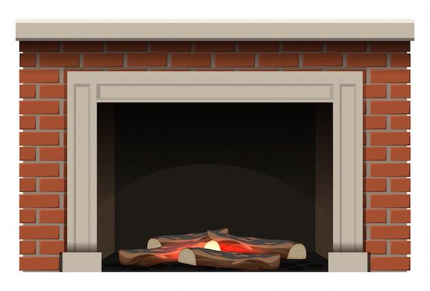Cheminée avec bois de chauffage et petite flamme à l'intérieur
