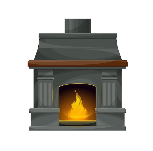 Cheminée intérieure moderne avec feu brûlant. cheminée vectorielle, foyer ou poêle avec murs en pierre grise, cadre, foyer et cheminée, piliers décoratifs et manteau avec étagère en bois, flamme vive et étincelles