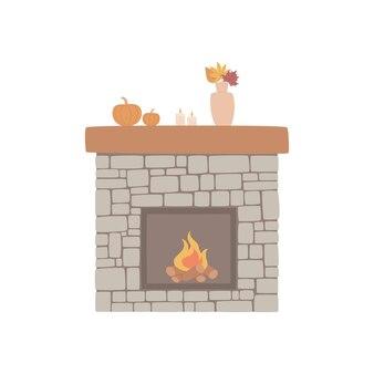Cheminée en pierre naturelle avec un décor d'automne et une flamme brûlante lumineuse vector handdrawn illu