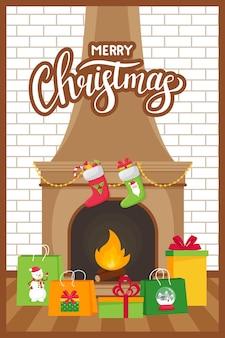 Cheminée et sacs-cadeaux et boîtes sur un fond de mur de briques blanches. style plat avec lettrage noël.