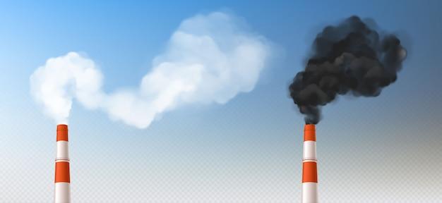 Cheminées de fumée blanches rouges, tuyaux de cheminée réalistes