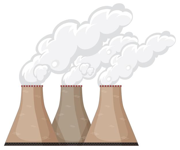 Cheminées d'usine avec de la fumée