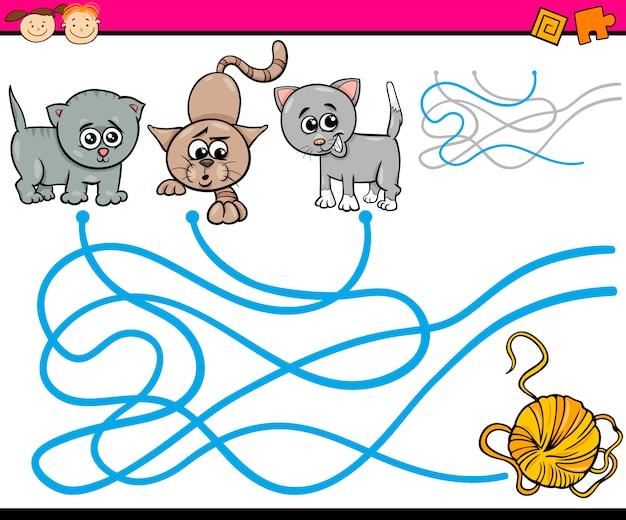 Chemins ou jeu de dessin animé de labyrinthe