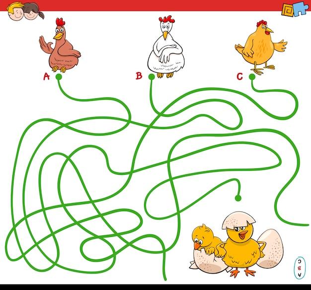 Chemins labyrinthe jeu avec des poules et des poulets