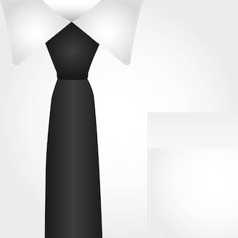 Chemise d'affaires avec cravate noire fond illustration vectorielle