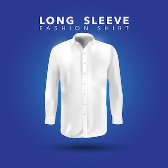 Chemise blanche à manches longues sur fond bleu
