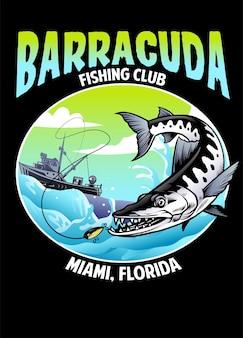 Chemise design barracuda pêche
