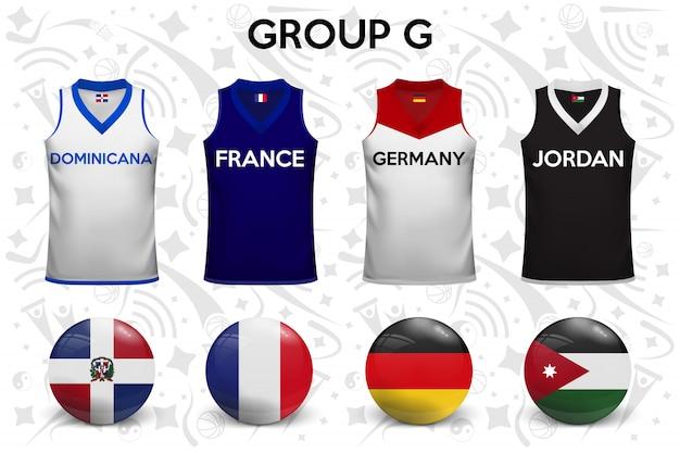 Chemises de basket. ensemble de t-shirts et de drapeaux des équipes nationales.