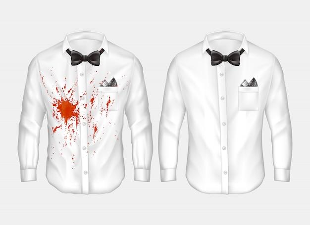 Chemises blanches masculines réalistes avec des noeuds papillon, un sale, froissé avec une tache de vin rouge