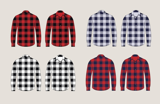 Chemises à carreaux design avant et arrière à motifs