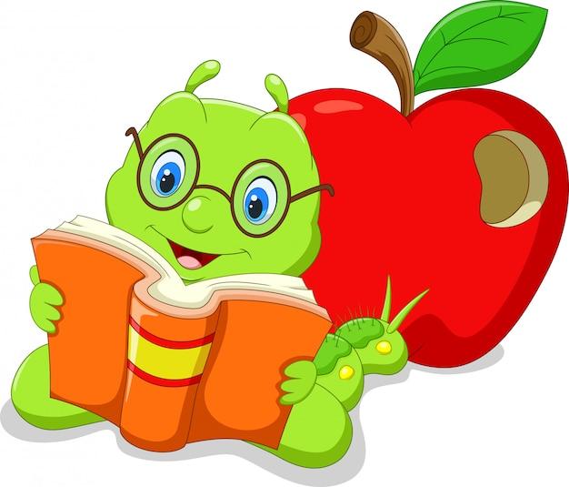 Chenille de dessin animé lisant un livre