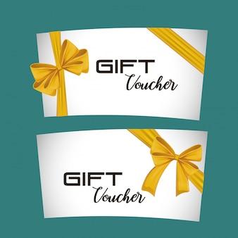 Chèque-cadeau carte avec ruban jaune
