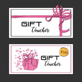 Chèque-cadeau carte avec ruban rose