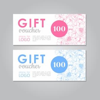 Chèque cadeau avec chèque fleurs d'anémone