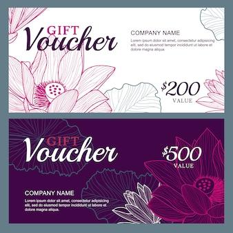 Chèque cadeau élégant avec des fleurs