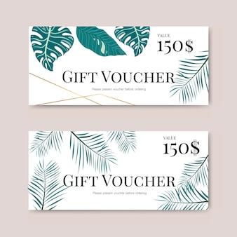 Chèque cadeau avec feuille tropicale