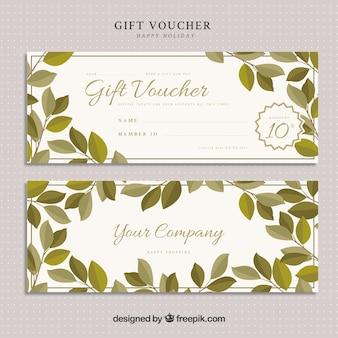 Chèque cadeau avec des feuilles vertes