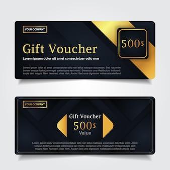 Chèque-cadeau de luxe avec décoration d'élément bleu marine et or
