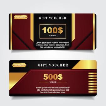 Chèque-cadeau de luxe avec décoration d'élément or