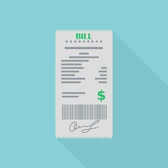 Chèque financier papier facture ou restaurant. réception de commande, facture sur fond bleu