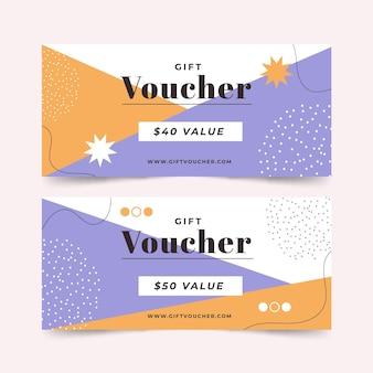Chèques-cadeaux abstraits design plat