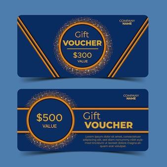 Chèques cadeaux, bleus et dorés