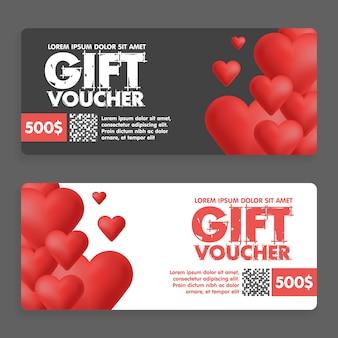Chèques cadeaux avec des coeurs colorés. idéal pour les ventes de la saint-valentin. coupons-cadeaux de vecteur.