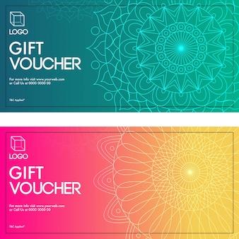 Chèques-cadeaux avec design mandala en deux couleurs.