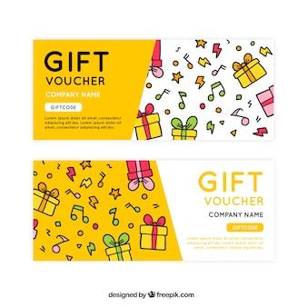 Chèques cadeaux dessinées à la main avec des notes de musique décoratifs