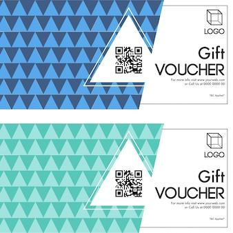 Chèques-cadeaux en deux couleurs options.