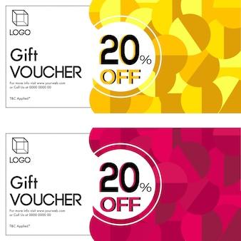 Chèques-cadeaux en deux couleurs, avec une réduction de 20% sur l'offre.
