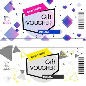 Chèques-cadeaux d'une durée limitée en deux couleurs.